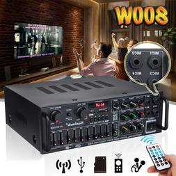 110V 2Ch bluetooth Home Stereo Amplifier Powered Equalizer E