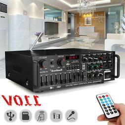 110V bluetooth Home Stereo Amplifier LED Display USB SD 4 Wa