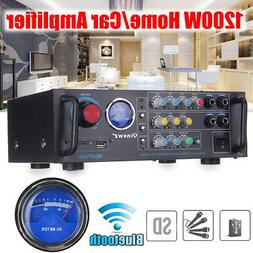 1200W 2CH bluetooth Stereo Home/Car Amplifier With VU Meter