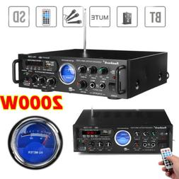 2 Channel 2000WATT Bluetooth 4.0 VU Home Stereo Amplifier Hi