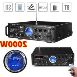 2 Channel 2000WATT Bluetooth 4.0 VU Home Stereo Amplifier Hi