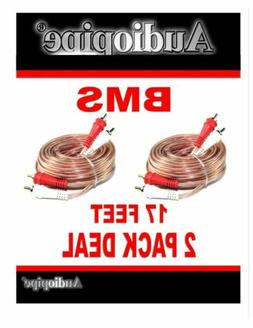 2 Pieces 17' Feet RCA Male Stereo Car Home Audio Interconnec