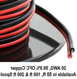 20 Gauge  99.9% OFC Stranded Oxygen Free Copper 100' Red &