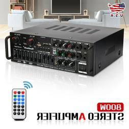 800W 110V 2Ch bluetooth Home Stereo Amplifier Powered Equali
