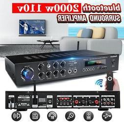 2000W 5 CH Home Power Amplifier bluetooth 4.0 HiFi Stereo Am