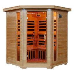 Hanko 4 Person Pre-Built Corner FAR Infrared Sauna - High Qu