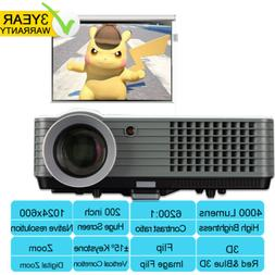 4000 Lumen Home Theater Projector HDMI 1080P Full HD Support