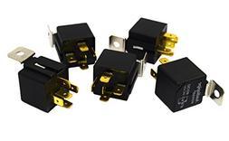 5 Pack Audiopipe 12v 5 Pin SPDT 30/40 Amp Relay Socket Metal