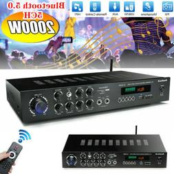 2000Watts 5 Channel Bluetooth 5.0 Home Stereo Power Amplifie