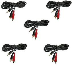 5 PACK LOT 3.5mm 1/8 stereo plug mini dual 2 RCA home stereo
