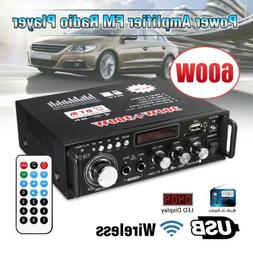 600W 2CH bluetooth Car Home Amplifier HIFI Audio Stereo Powe