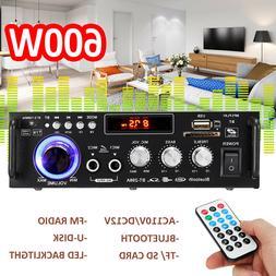 600W AC110V/12V HIFI Audio Stereo bluetooth FM 2CH LCD Ampli