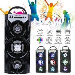 Portable bluetooth Speaker LED Rechargeable USB FM AUX Outdo