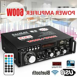 600W LCD Amplifier HIFI Audio Stereo Bluetooth FM 2CH AMP Ca