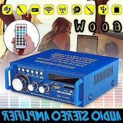 600W Mini 2CH HiFi Digital Audio Stereo Amplifier Bass FM Ra