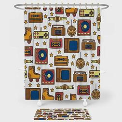 iPrint 90s Shower Curtain And Floor Mat Combination Set 90s