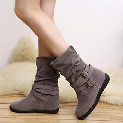 Hemlock Womens Booties, Ladies Winter Warm Calf Boots Slip O