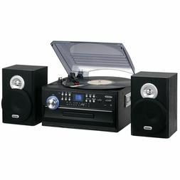 Jensen 3-Speed Home Stereo Turntable Music System CD Player