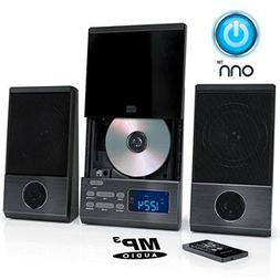 ONN Audio Compact Home CD Music Shelf System Vertical-loadin