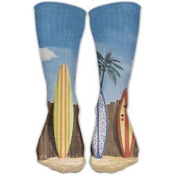 Palm Tree Beach Surfboard Personalized Socks Sport Athletic