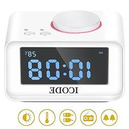 Digital Alarm Clock,-ICODE FM Radio Alarm Clock with 4 Dimme