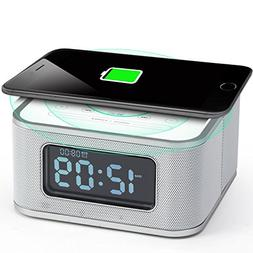 Homtime Alarm Clock with Radio - Wireless Charger Bluetooth