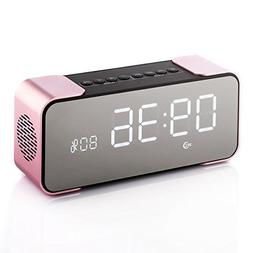 Bzng Alarm Clock with FM Radio Wireless Bluetooth 4.2 Stereo