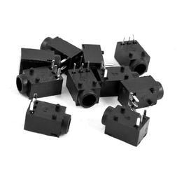 uxcell 10 Pcs Black 3 Poles 3.5mm Stereo Jack Socket PCB Mou