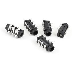 uxcell 5 Pcs Black 6 Pin 3.5mm SMD Stereo Jack Socket PCB Mo