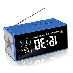 KABB Clock Radio, 7 Inches LCD FM Dual Alarm Clock with Snoo