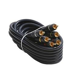 50' FT 3 RCA Composite Cable Male to Male Python Gold Home T
