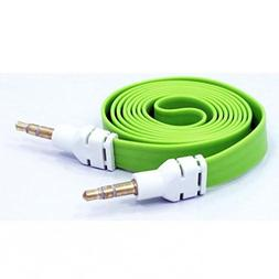 Green Flat Aux Cable Car Stereo Wire Audio Speaker Cord 3.5m