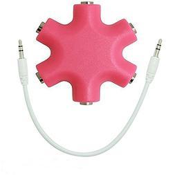 Daker Headphone Splitter 3.5mm,1 to 5 Stereo Audio Adapter C