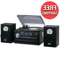 Jensen Home Stereo Music System Record Player Cassette Speak