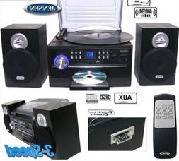 Jensen Home Stereo Turntable System Radio With Cassette Spea