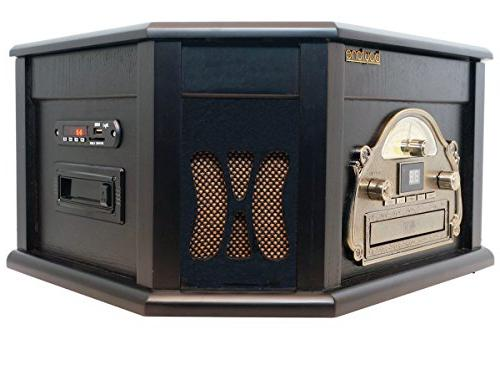 Bluetooth Connection Natural wood Classic Turntable Stereo System, Vinyl CD, Cassette, SD slot. 2 Built-in Remote Control, Players