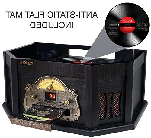 8-in-1 Boytone BT-25BK Bluetooth Connection Classic Turntable Vinyl CD, slot. Remote Control, 3 Players