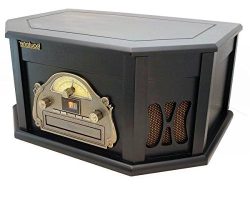 8-in-1 Boytone BT-25BK Bluetooth Connection Classic System, Vinyl CD, Cassette, USB, slot. 2 Built-in Remote MP Players