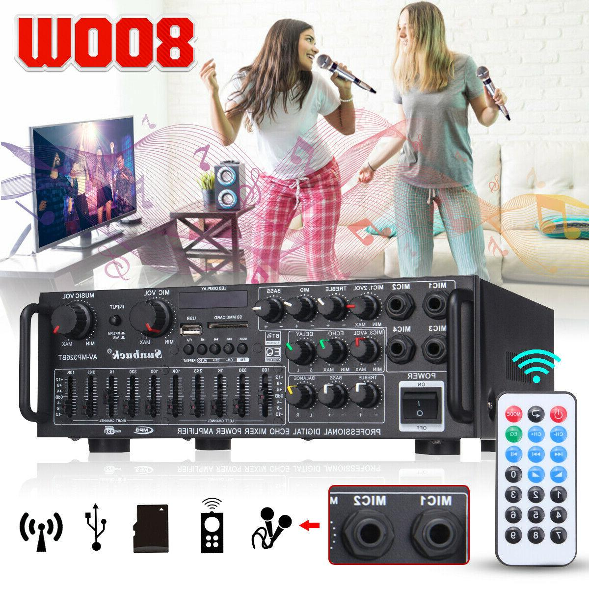 2000w 110v 2ch bluetooth home stereo amplifier