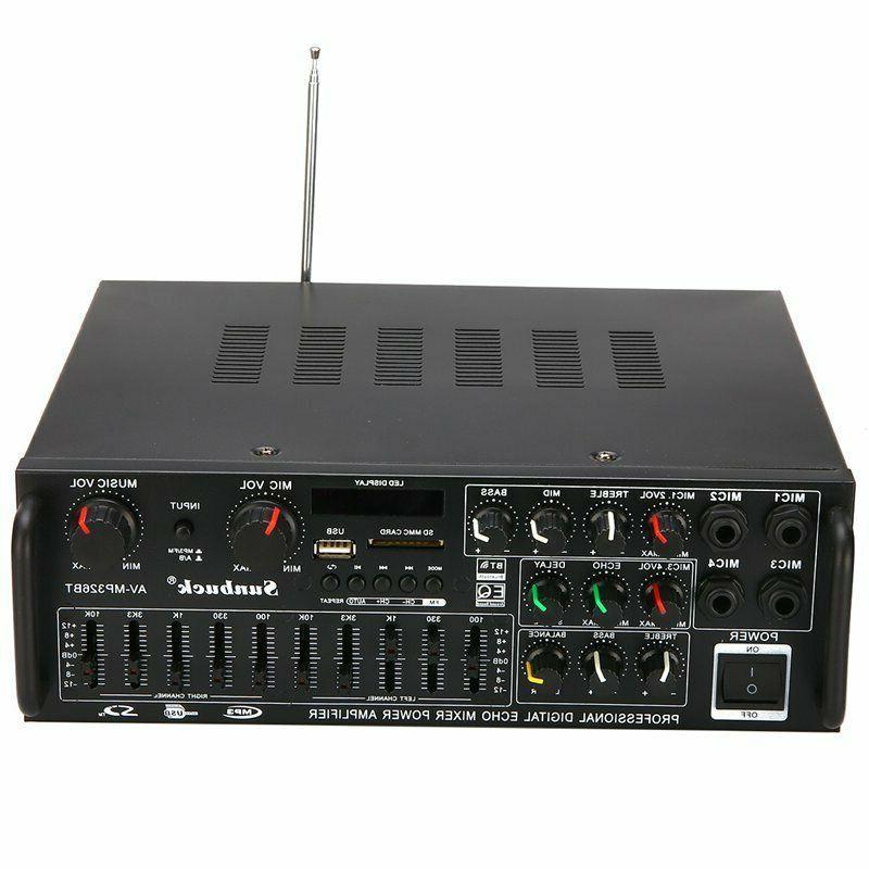 800W Bluetooth Home Stereo Amplifier Powered Equalizer Karaoke