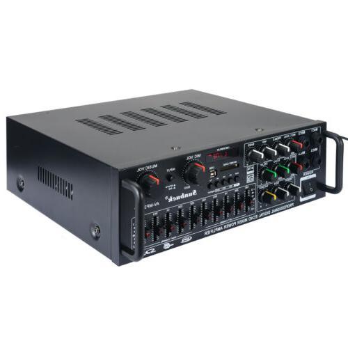 2000Watts EQ 2 Bluetooth Power Amplifier Amp USB FM