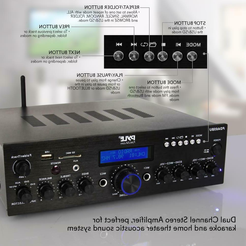 200W BLUETOOTH HOME THEATER STEREO AUDIO RECEIVER AMP AMPLIFIER
