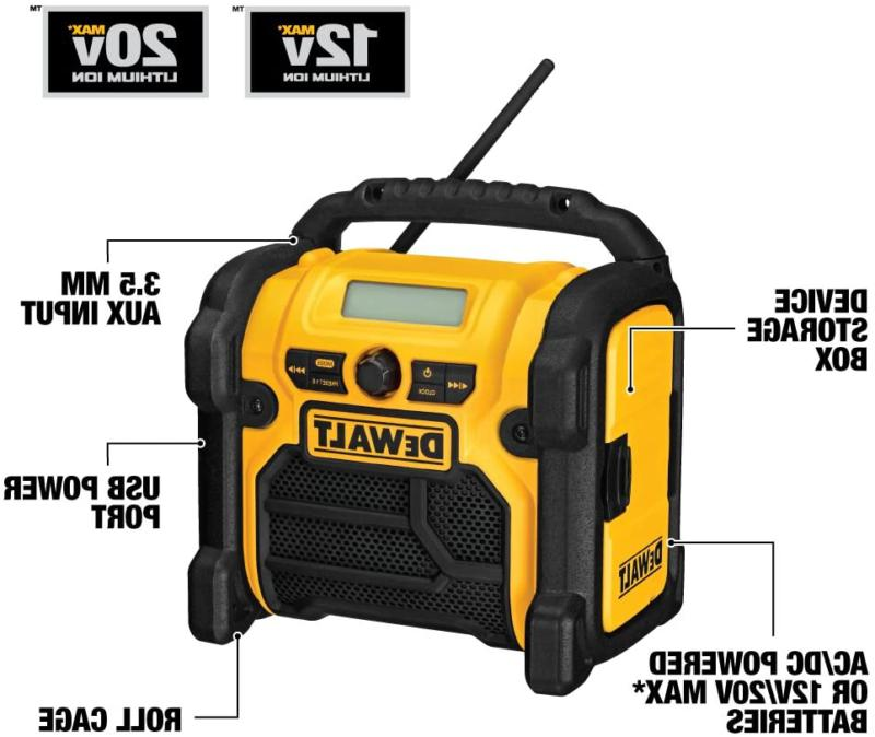DEWALT 20V Radio, Compact & Black,10.10in. x