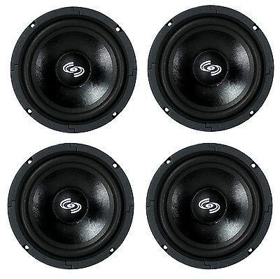 4) Pyle Pro 8 Inch 360 Watt 8-Ohm Black Driver Mid Range Aud
