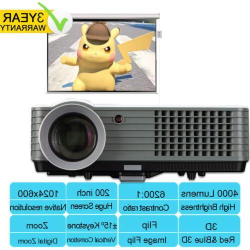 4000 lumen home theater projector hdmi 1080p