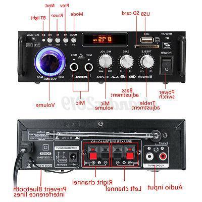 600W 2CH bluetooth Amplifier Stereo Audio Radio c