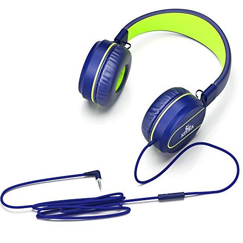 Artix Foldable Tangle-Free Wired Headphones, Compact Stereo Earphones In-line Microphone Controls Children, Phones Travel-