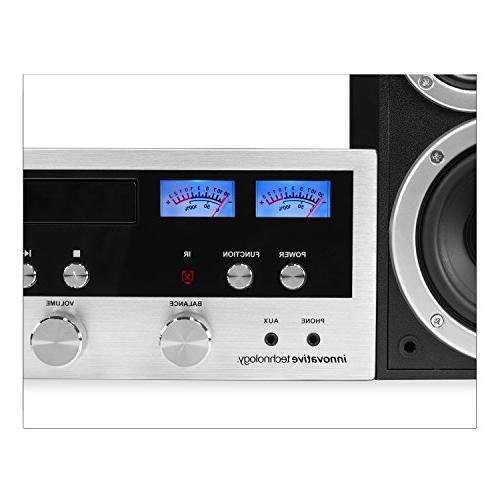 Innovative Technology Bluetooth CD Player, Aux-In, Turntable, Silver and Black