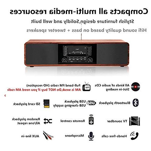 KEiiD Stereo Wooden Desktop Bluetooth Hi-Fi Speaker Home Audio Component Shelf with FM Radio Digital Control USB AUX,Soundbar
