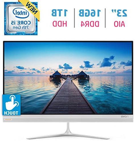 Lenovo IdeaCentre 520S Premium Stylish All-in-One Desktop , 23-inch  Borderless Full HD IPS Touch Screen, Intel Core i5-7200U, 16GB DDR4, 1TB  HDD,
